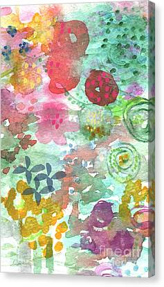 Watercolor Garden Blooms Canvas Print by Linda Woods