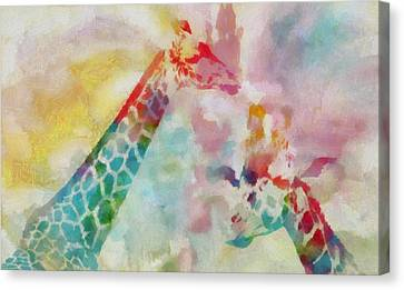 Watercolor Giraffes Canvas Print by Dan Sproul