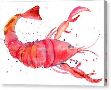 Watercolor Illustration Of Lobster Canvas Print by Regina Jershova