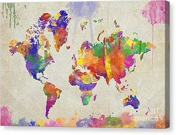 Watercolor Impression World Map Canvas Print by Zaira Dzhaubaeva