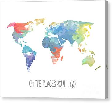 Watercolor Map Canvas Print by Jennifer Mecca