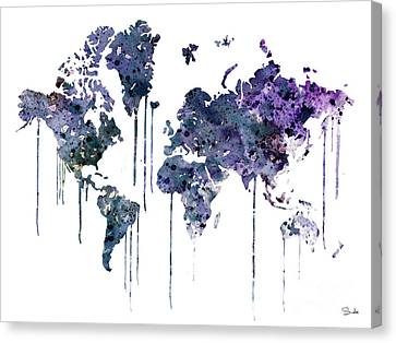 Watercolor Map Canvas Print by Watercolor Girl