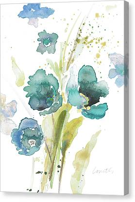 Watercolor Modern Blue Poppies Canvas Print by Lanie Loreth