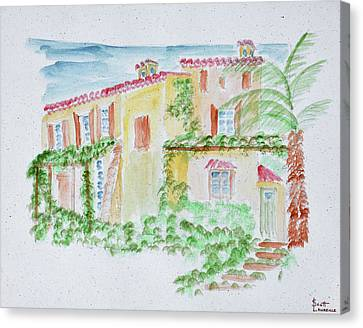 Watercolor Of A Typical French Home Canvas Print