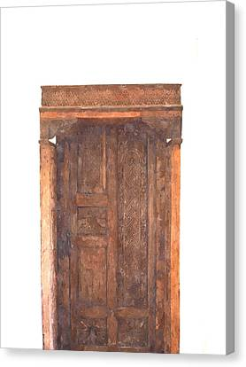 watercolor of antique Moroccan style wooden door on white wall Canvas Print by Ammar Mas-oo-di
