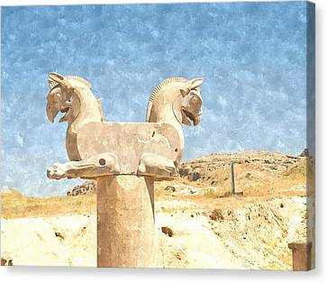 Watercolor Of Two-headed Griffin Statue In An Ancient City Of Persepolis In Shiraz In Iran Canvas Print by Ammar Mas-oo-di
