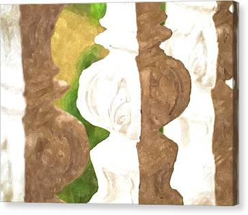Watercolor Of White Banister Plaster Canvas Print