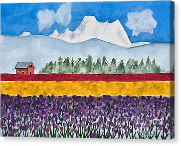Watercolor Painting Landscape Of Skagit Valley Tulip Fields Art Canvas Print