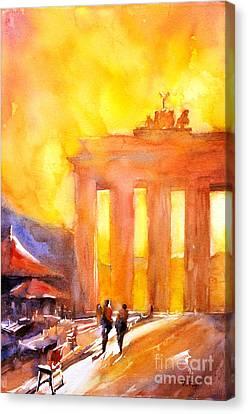 Watercolor Painting Of Brandenburg Gate Berlin Germany Canvas Print by Ryan Fox