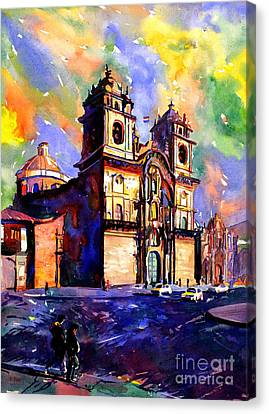 Watercolor Painting Of Church On The Plaza De Armas Cusco Peru Canvas Print