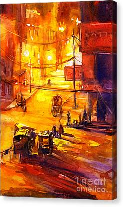 Watercolor Painting Of Kathmandu Street- Nepal Canvas Print by Ryan Fox