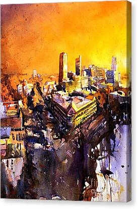Watercolor Painting Of Raleigh North Carolina Skyline Canvas Print by Ryan Fox