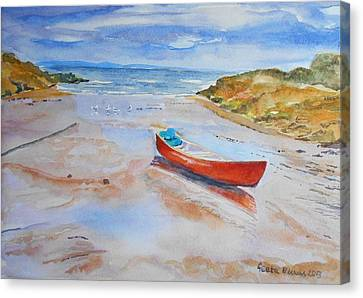 Watercolor Painting Of Red Boat Canvas Print by Geeta Biswas