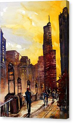 Watercolor Painting Of Skyscrapers Of Downtown Chicagoill Canvas Print by Ryan Fox