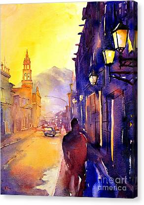 Watercolor Painting Of Street And Church Morelia Mexico Canvas Print by Ryan Fox