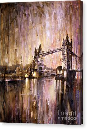 Watercolor Painting Of Tower Bridge London England Canvas Print by Ryan Fox