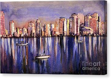 Watercolor Painting Of Vancouver Skyline Canvas Print