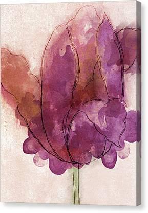 Watercolor Plum Tulip Canvas Print by South Social Studio