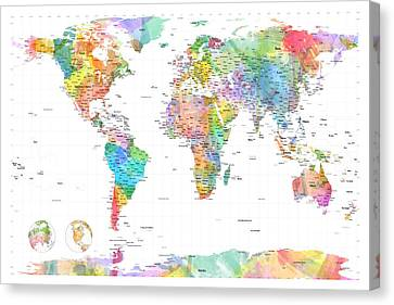 Watercolor Political Map Of The World Canvas Print