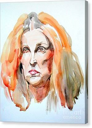 Canvas Print featuring the painting Watercolor Portrait Of A Mad Redhead by Greta Corens