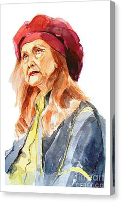 Watercolor Portrait Of An Old Lady Canvas Print by Greta Corens
