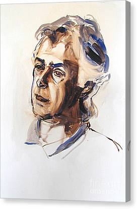 Canvas Print featuring the painting Watercolor Portrait Sketch Of A Man In Monochrome by Greta Corens