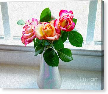 Watercolor Roses Canvas Print by Candy Frangella