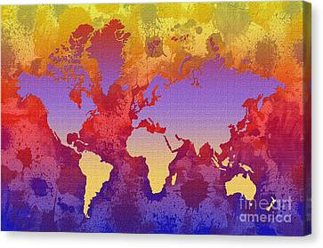 Watercolor Splashes World Map On Canvas Canvas Print by Zaira Dzhaubaeva