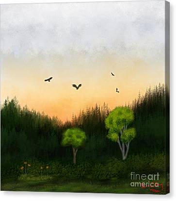 Watercolor Sunset 2 Canvas Print by Thomas OGrady