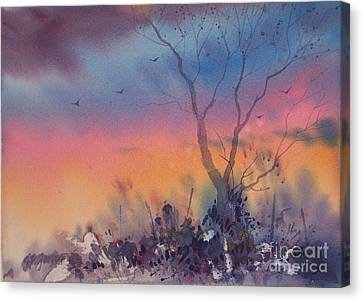 Watercolor Sunset Canvas Print by Micheal Jones