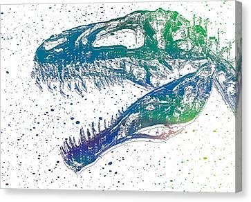 Watercolor T Rex Canvas Print by Dan Sproul