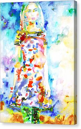 Watercolor Woman.18 Canvas Print by Fabrizio Cassetta