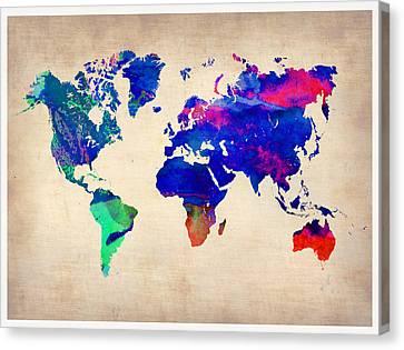 Watercolor World Map 1 Canvas Print by Naxart Studio
