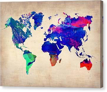 Watercolor World Map 4 Canvas Print by Naxart Studio