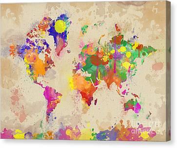 Watercolor World Map On Old Canvas Canvas Print by Zaira Dzhaubaeva