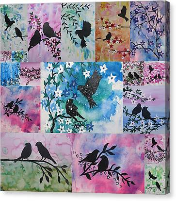Watercolour Birds Canvas Print by Cathy Jacobs