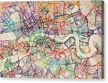 London City Map Canvas Print - Watercolour Map Of London by Michael Tompsett