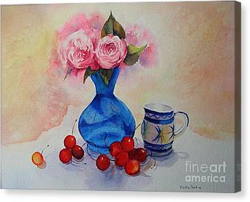 Canvas Print featuring the painting Watercolour Roses And Cherries by Beatrice Cloake