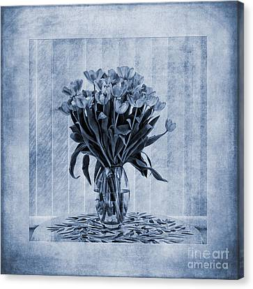 Close Up Canvas Print - Watercolour Tulips In Blue by John Edwards