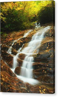 Waterfall @ Sams Branch Canvas Print by Photography  By Sai
