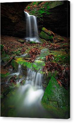 Covered Bridges Canvas Print - Frankfort Mineral Springs Waterfall  by Emmanuel Panagiotakis