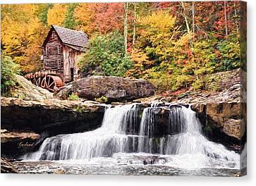 Waterfall And Gristmill.  Canvas Print by Garland Johnson