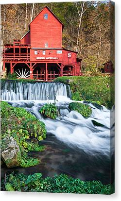 Waterfall And Hodgson Mill - Missouri Canvas Print by Gregory Ballos