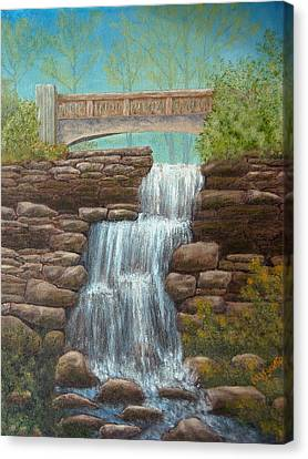 Waterfall At East Hampton Canvas Print by Pamela Allegretto