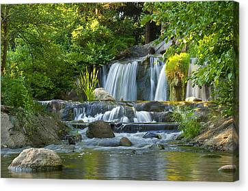 Waterfall At Lake Katherine 2 Canvas Print by Larry Bohlin