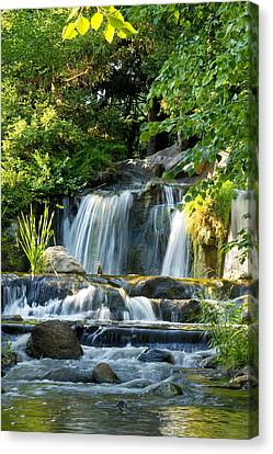 Waterfall At Lake Katherine Canvas Print by Larry Bohlin