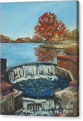 Canvas Print featuring the painting Waterfall Brookwood Hall by Susan Herbst