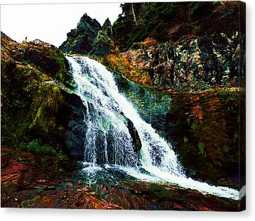 Waterfall By Stiles Cove Path Canvas Print