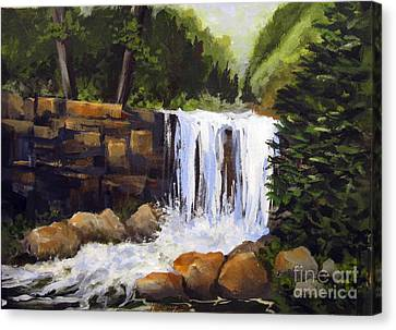 Canvas Print featuring the painting Waterfall by Carol Hart