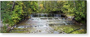 Waterfall In A Forest, Au Train Falls Canvas Print by Panoramic Images